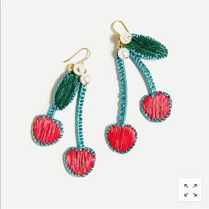 J.CREW Raffia Cherry Earrings